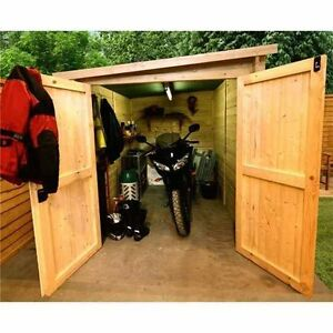 Motorbike store wooden garage outdoor motorcycle storage for Motorcycle storage shed
