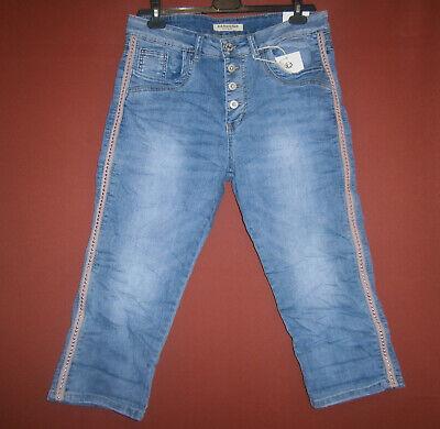 Karostar Boyfriend Capri-Jeans Stretch rosa Seitenstreifen Nieten 42 44 46 48