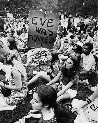 Hippy protest Eve was Framed Black and White Art  Print Poster