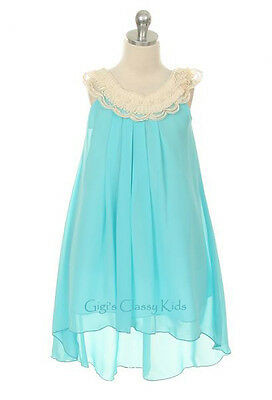 New Flower Girls Aqua Blue Chiffon Dress Sizes 4-14 Easter Christmas Graduation