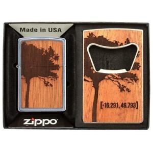 Zippo-49066-Woodchuck-USA-Mahogany-Emblem-amp-Bottle-Opener-Street-Chrome-Lighter