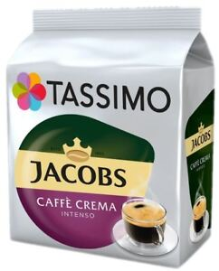 TASSIMO Jacobs Caffe Crema Intenso Coffee T Discs Pods 8/16/32/48/80/160 Drinks