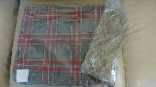 Pottery Barn Fur Plaid Pillow Sham Holiday Nottingham Christmas lodge 16x26 gift