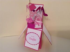 Pleasing Handmade Card Happy Birthday Daughter Shoes Bags In A Box Funny Birthday Cards Online Alyptdamsfinfo