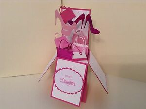 Astonishing Handmade Card Happy Birthday Daughter Shoes Bags In A Box Funny Birthday Cards Online Alyptdamsfinfo