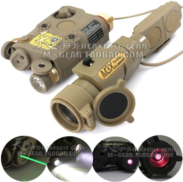 Tactical PEQ15 Rojo verde Láser Infrarrojo Uso Intensivo & M3X LED Linterna