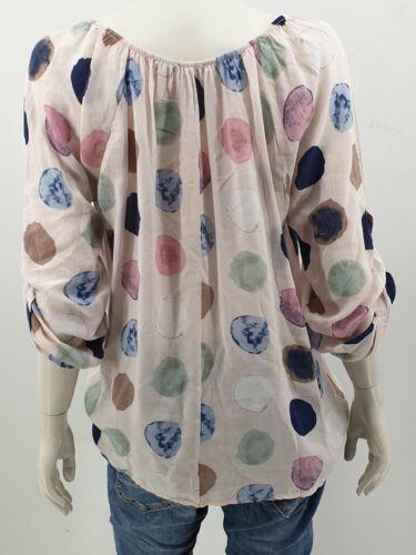 Tupfen Bluse Carmenbluse on//off Shoulder Tunika Turn up Ärmeln in 11 Farben