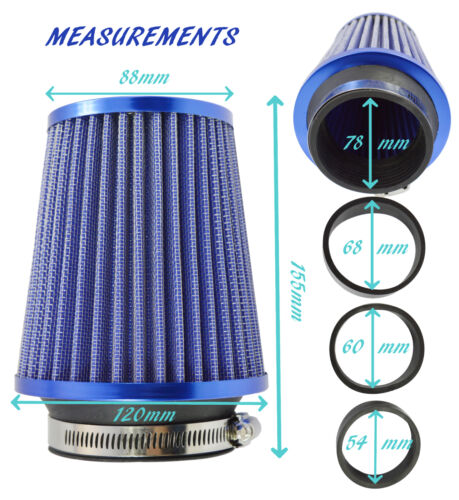 BLUE EASY FIT UNIVERSAL PERFORMANCE CAR AIR FILTER HIGH FLOW INDUCTION INTAKE