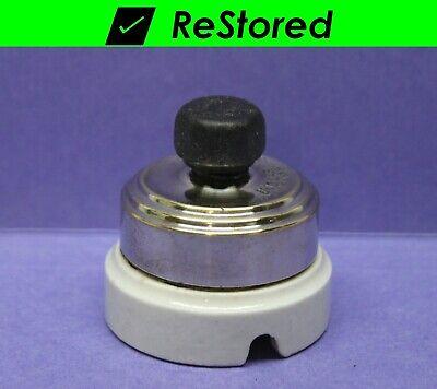 Chrome//Porcelain Round Single-Pole Turn Perkins ✅ Vintage Rotary Light Switch