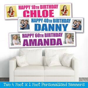 2-PERSONALISED-4FT-X-1FT-PHOTO-BIRTHDAY-BANNERS-CHOICE-OF-7-COLOURS