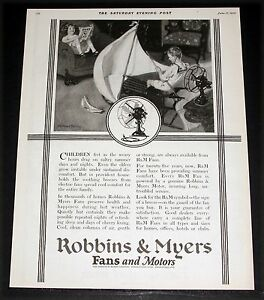 1922 old magazine print ad robbins myers fans motors for Robbins and myers replacement motors