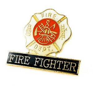 """/""""FIRE DEPARTMENT/"""" LAPEL PIN HAT PIN  JACKET TAC EMS RED SILVER RESCUE"""