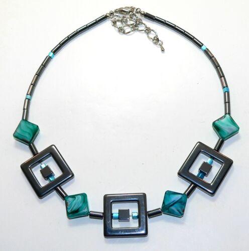 Collar cadena hematites Millefiori Lampwork azul petrol verde cubo de vidrio 278n