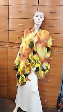 SCARF LONG FELTED WOOL CHIFFON SILK SUMMER HANDMADE IN EUROPE RED HOLIDAY GIFT