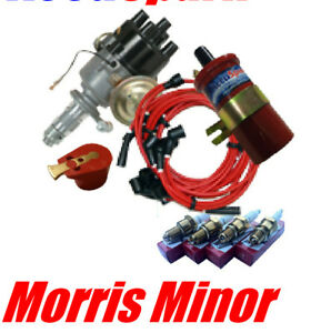 Moris Minor Electronic Distributor//Ignition pack with BLUE HT leads,plugs/&coil