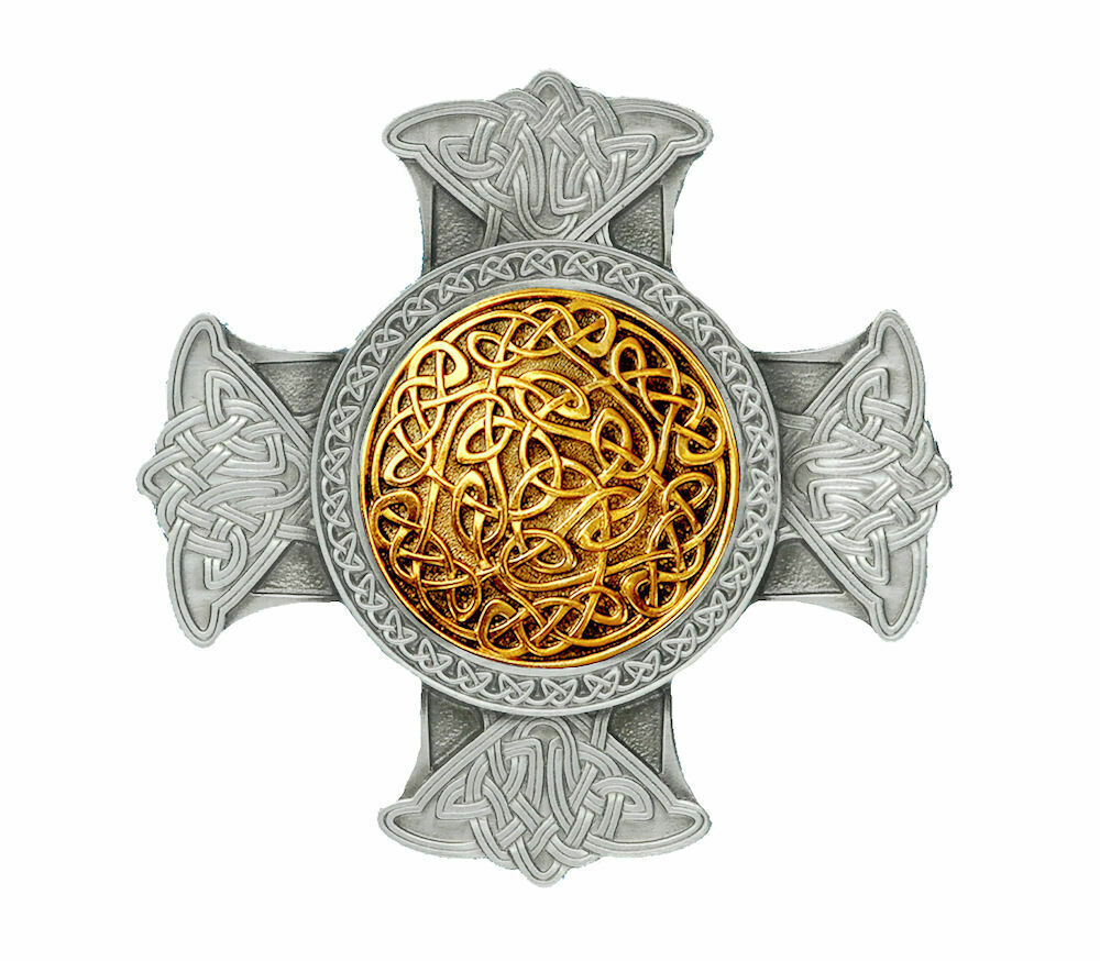 Celtic Cross Gold and Silver Plated Belt Buckle