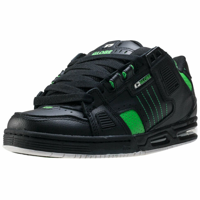 Globe Sabre Black Green Leather Mens Skate Trainers