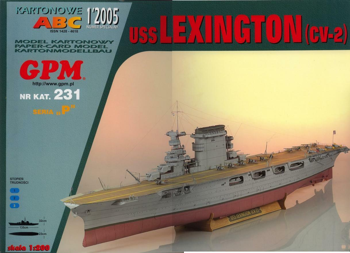 USS Lexington aircraft carrier paper card model 1 200 huge 135cm
