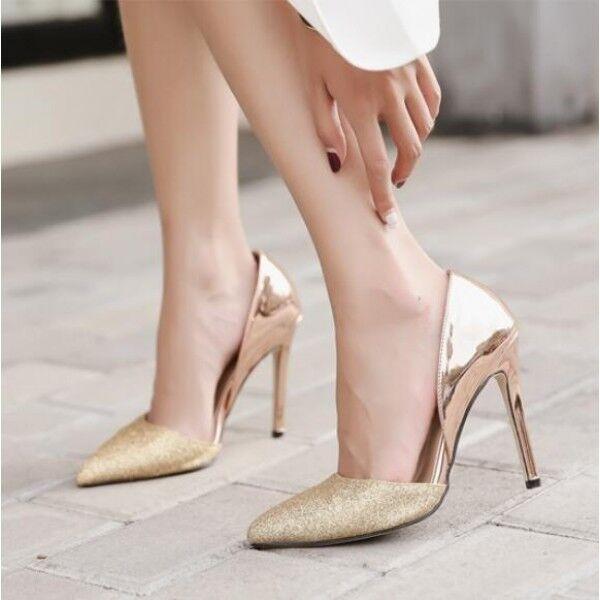 Decolte scarpe donna tacco 11 eleganti stiletto oro pelle sintetica comode 9484