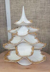 "VINTAGE 17"" WHITE GOLD CERAMIC TREAT TREE"