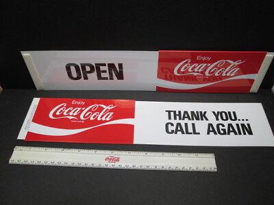 ORIGINAL SIGN Enjoy Coca~Cola SLIDE GLASS DOOR//WINDOW OPEN CLOSE SIGN PLASTIC