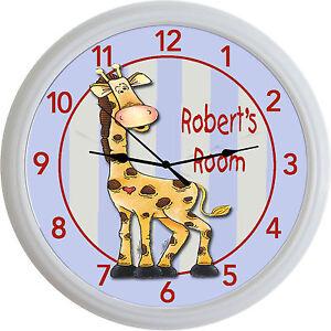 Image Is Loading Jungle Animal Safari Giraffe Custom Personalized Wall Clock