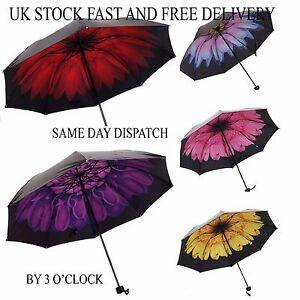 Vincenza-Windproof-Waterproof-Compact-Folding-Floral-Flowers-Umbrella-Parasol