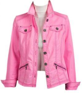 88e40d73ffc5a New Womens Ladies Pink Zip Pockets Denim Jacket Size 10 12 14 16 18 ...