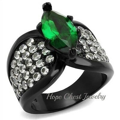 WOMEN'S BLACK STAINLESS STEEL GREEN MARQUISE & CLEAR CRYSTAL FASHION RING 5 -10