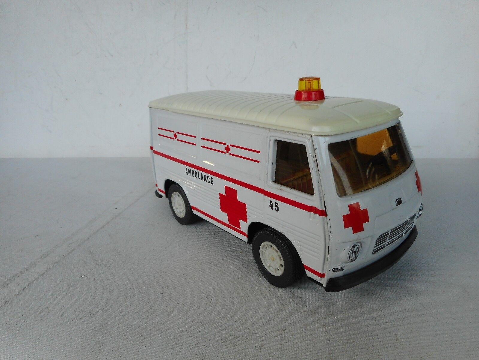 Joustra Peugeot J7  Ambulance Ambulance Ambulance 70er Jahre Blech Spielzeug France Tin Toy RARE   310eaf