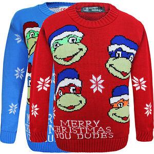 Kids-Unisex-Boys-amp-Girls-Christmas-Ninja-Turtle-Novelty-Knitted-Jumper-Sweater