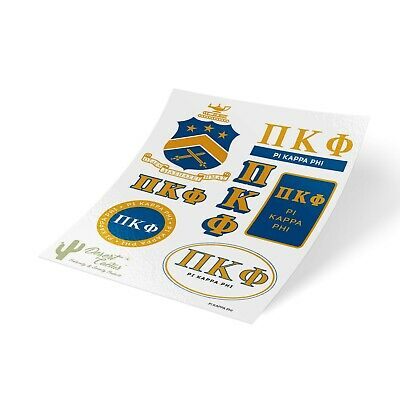 Phi Kappa Tau Traditional Crest and Letters Sticker Sheet Decal Laptop