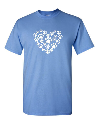 Heart Paw T-Shirt Dog Cat Animal Lover Pet Tee T Shirt Valentines Day Love Paws