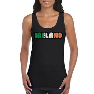 Ireland-Text-Flag-Girls-Women-039-s-Ladies-Tank-Top-Vest-T-Shirt-Black