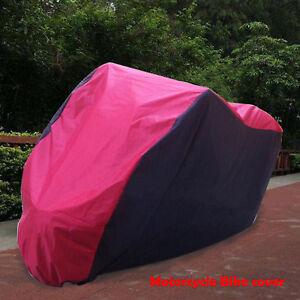 Motorcycle-Waterproof-XL-Motor-Bike-Scooter-Dust-Rain-Cover-Black-Red-Top