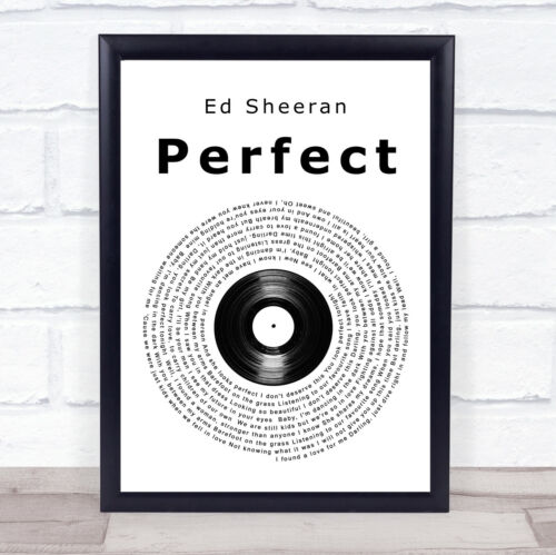 Perfect Vinyl Record Song Lyric Quote Print