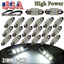 20X White 31MM Festoon Dome Map Interior LED Light Bulbs 3528 6SMD DE3175 DE3022