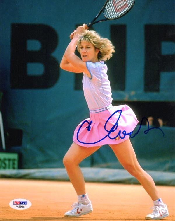 Chris Evert Firmado Autografiado 8x10 Foto Wimbledon Us Open Campeón Raro PSA