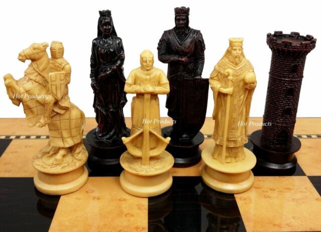 "Medieval Times Crusades KING RICHARD Chess Set Antique Color W// 15/"" Gloss Board"