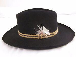 e9ae7978575 Vintage Stetson Gun Club 3X Beaver Black Fur Felt Cowboy Hat Size 7 ...