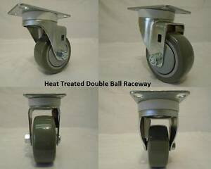 "3"" x 1 1/4"" Swivel Casters Polyurethane Wheel 300lb ea Heat Treated Raceways (4)"