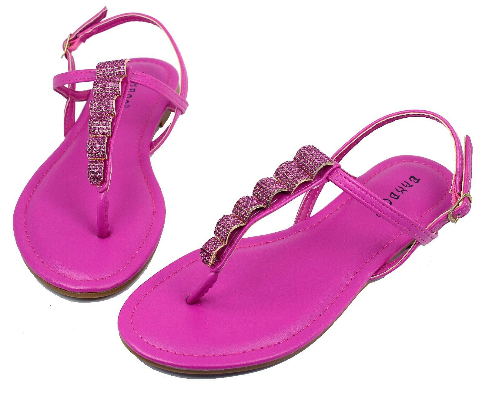 Josalyn-19 Precious Stone Flats Sandals Gladiator Party Women Shoes Shoes Women Fuchsia 8.5 4af447
