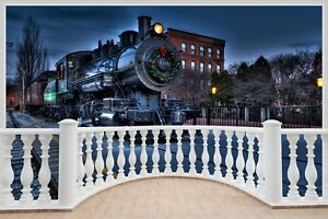 Huge-3D-Balcony-Locomotive-Train-Wall-Sticker-Mural-Wallpaper-S22