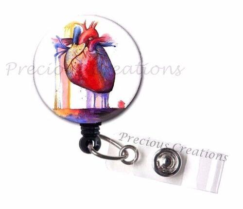 Heart Drip ID Badge Reel Holder Clip Holder Retractable Nurse Cute RN Medical
