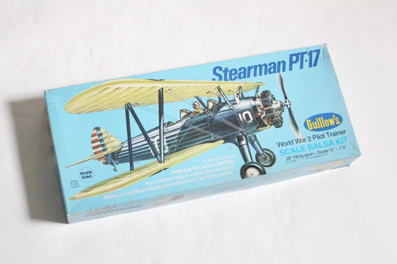Guillows kit 803 stearman pt-17 ww2 pilot trainer   model airplane kit