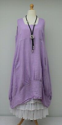 """PLUS SIZE LINEN OVERSIZED 2 POCKETS VERY LONG JACKET*TAUPE*BUST UP TO 54/"""" XL-XXL"""