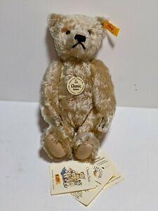 Steiff Classic Teddy Bear Light Blonde 25 cm 000645 Mohair With Tags