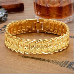 Hot-Fashion-24K-Yellow-Gold-Plated-Men-039-s-Gorgeous-Jewelry-Bangle-Bracelet-Hot