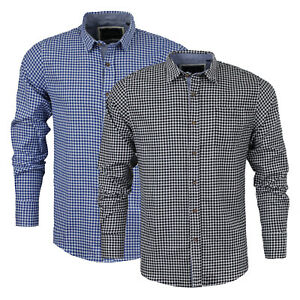 Mens-Long-Sleeved-Shirt-Brave-Soul-039-Blaze-039-Gingham-Check-Cotton-Collared-S-XL