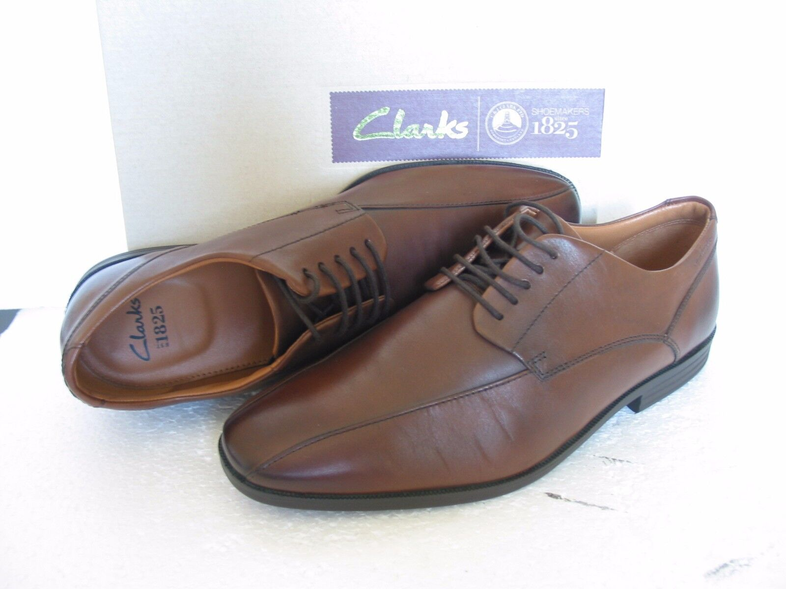 NEW CLARKS SHOES GLENRISE OVER BROWN LEATHER SHOES CLARKS SIZE 7.5 G & 7 H 649cfd